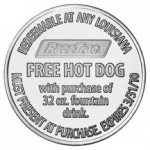 Aluminum Race-Trac-free-hot-dog Coin