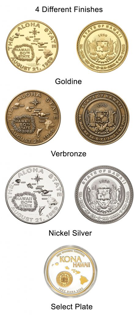 4 different finishes on similar coins