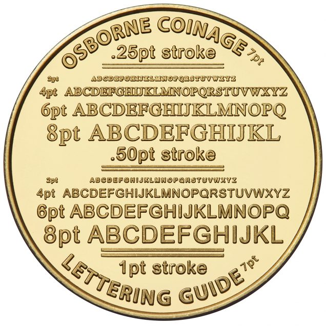 """Font Size examples on a 1.54"""" coin"""